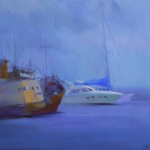 oil painting seascape of yachts