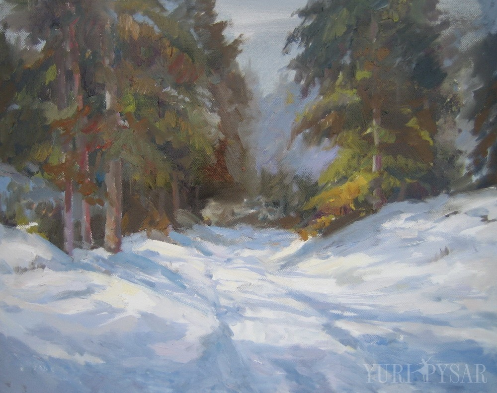 landscape of the snowy road in a forest with trees on both sides