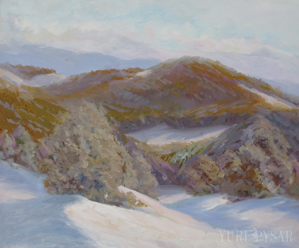 Carpathian mountains painting by winter