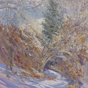 Yuri Pysar's canvas art of a winter scenery