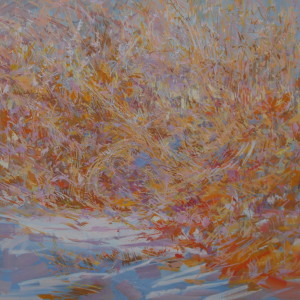 landscape oil painting of winter nature