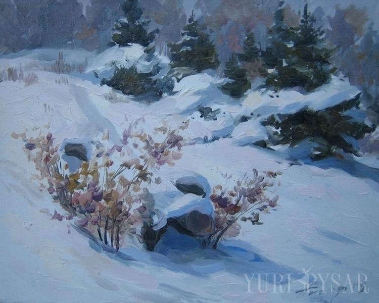 White winter forest art