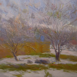 forest painting in winter