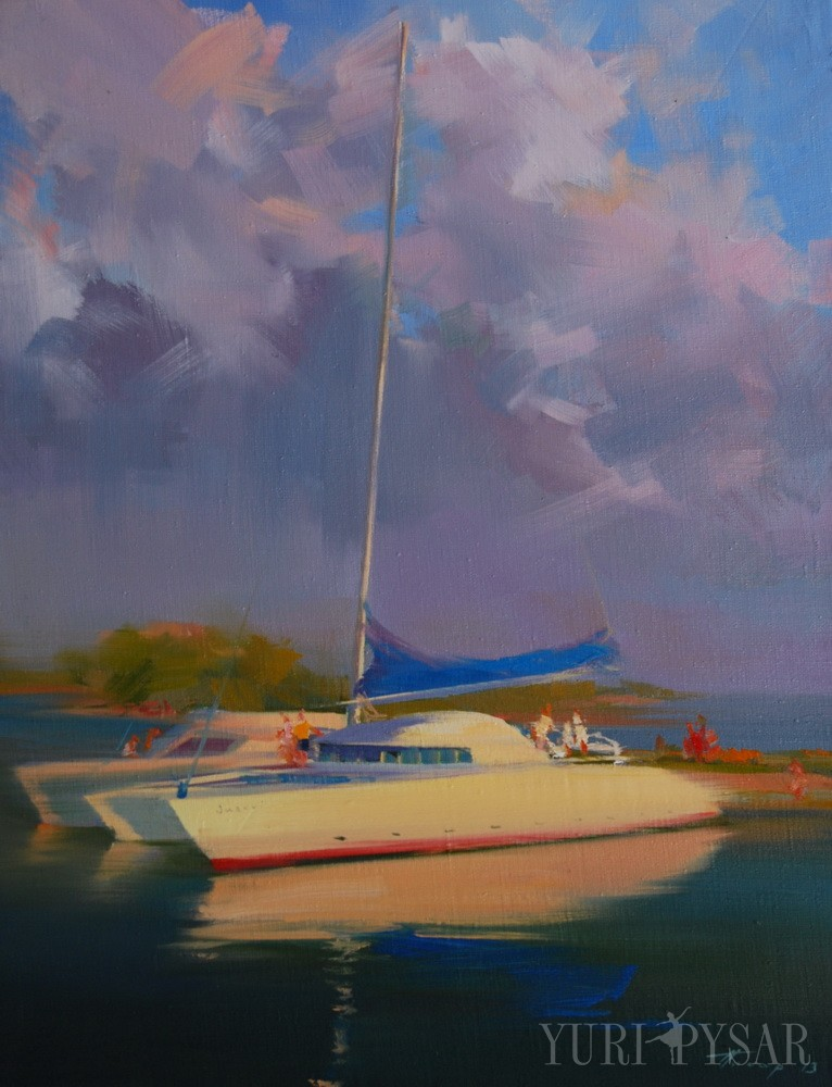 seascape painting of white yacht