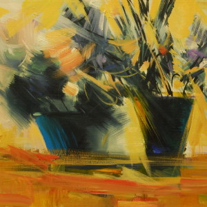 home flowers painting in yellow, black