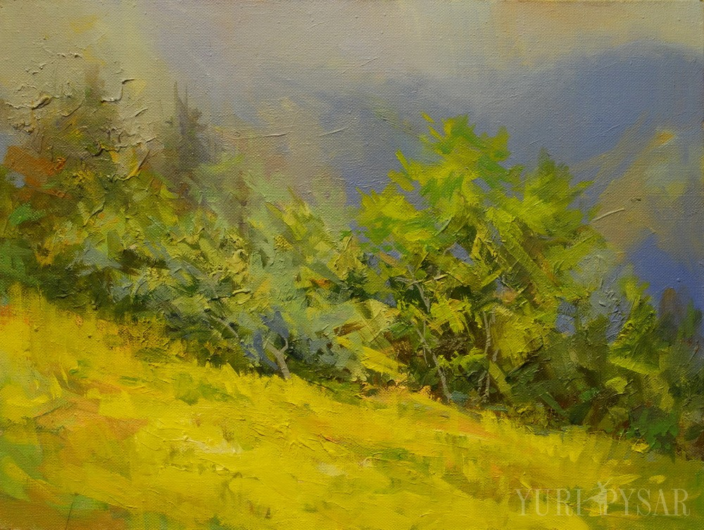 bright lime nature painting on canvas