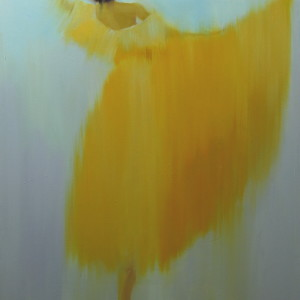 dancer painting in yellow