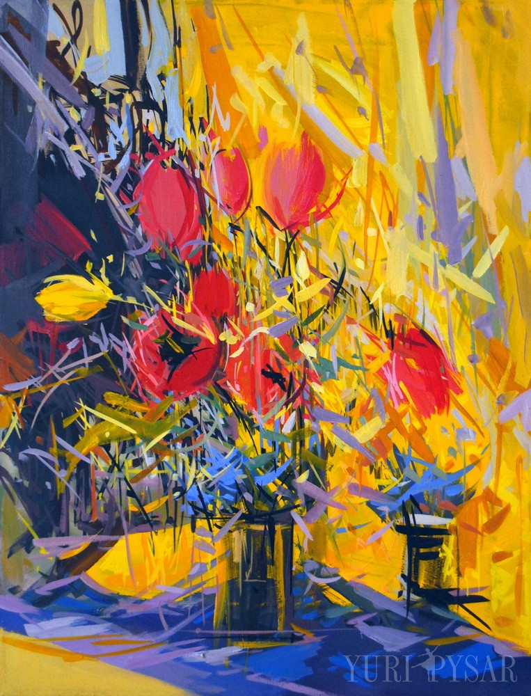 contemporary painting of tulips in red, yellow