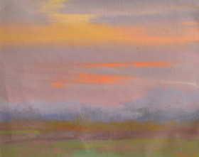 картина пейзаж захід сонця в горах