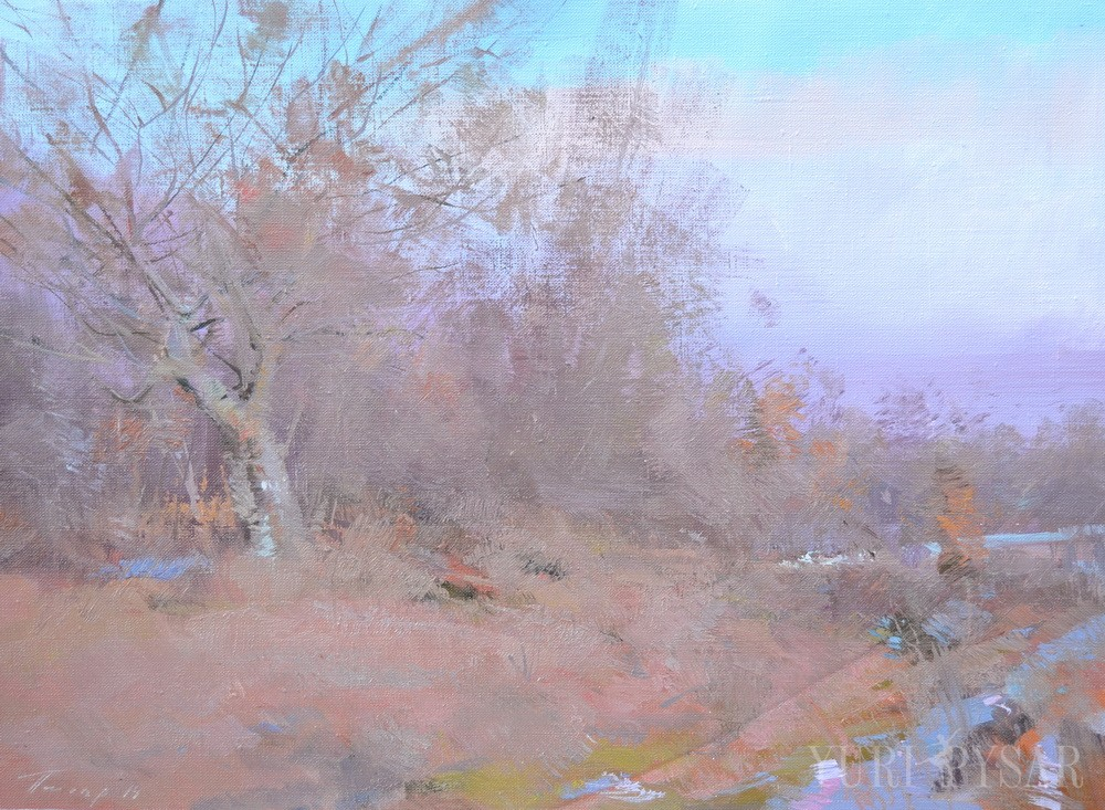 plein air painting of a landscape scene in winter