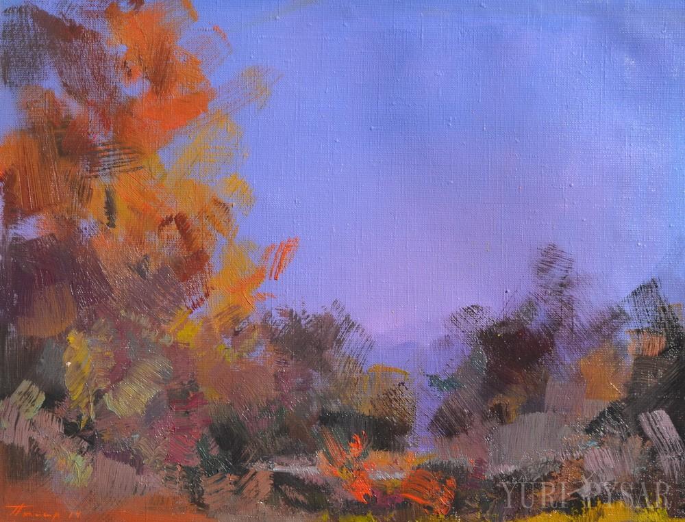 голубий коричневий пейзаж маслом, картина Юрія Писаря