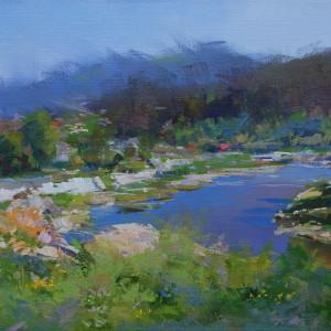 картина пейзаж гірської річки