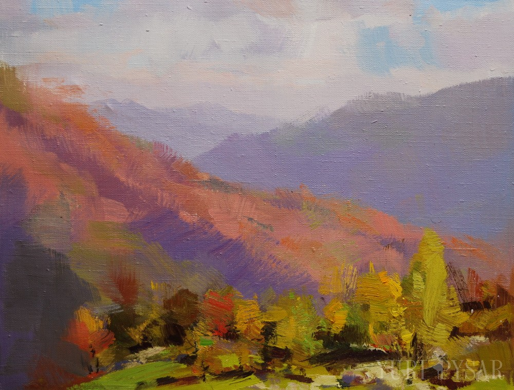 orange, ted mountains in autumn oil landscape painting