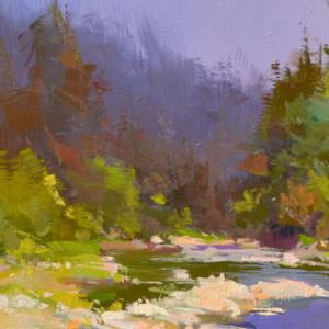 пейзаж картина гірська річка