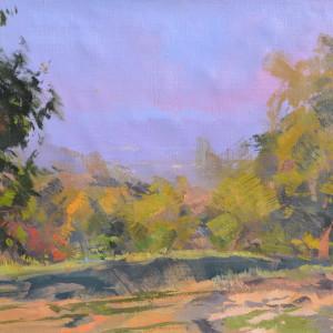 осінній пейзаж картина саду яблунь