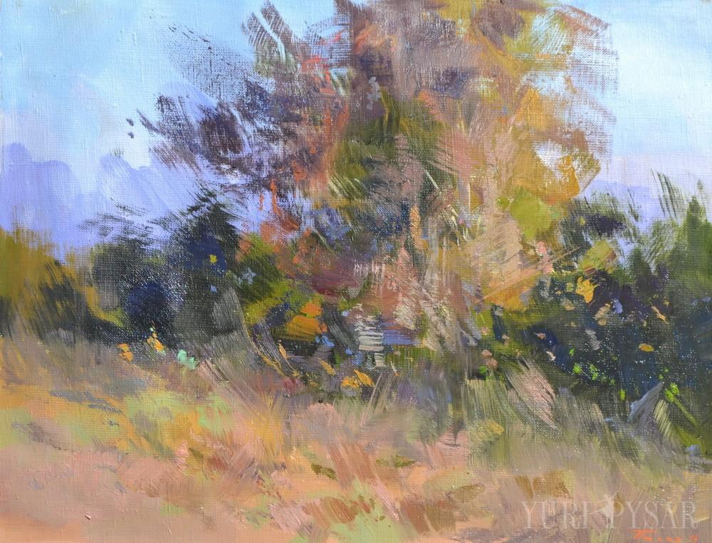 картина пейзаж лісу написана маслом на пленері