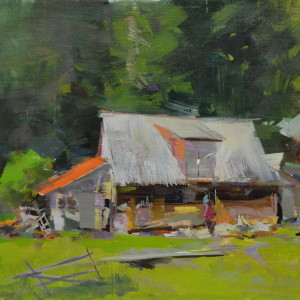 green oil painting of a hut in mountains