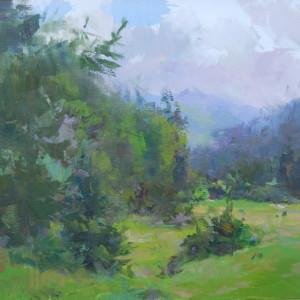 зелений пейзаж картина маслом