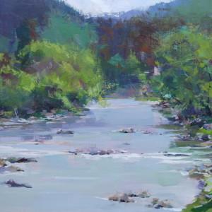 пейзаж картина маслом річки в горах