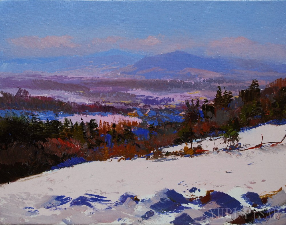 oil landscape painting of a winter scenery at Leibova Hora, Ivano-Frankivsk