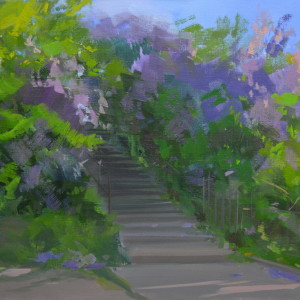 green, lilac painting of lilacs in blossoming
