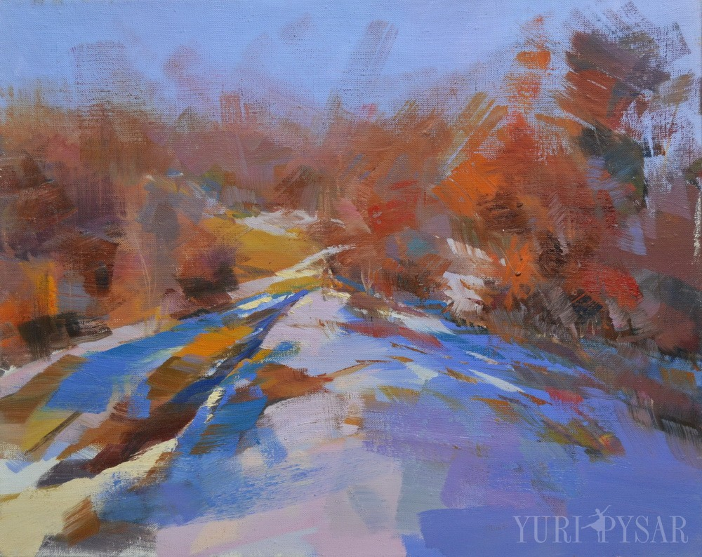 oil landscape painting of winter depicts a white mountain in snow