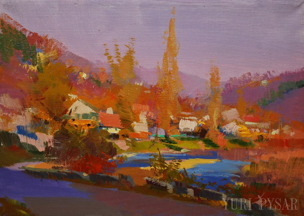orange and blue painting of a landscape in mountains on an autumn day