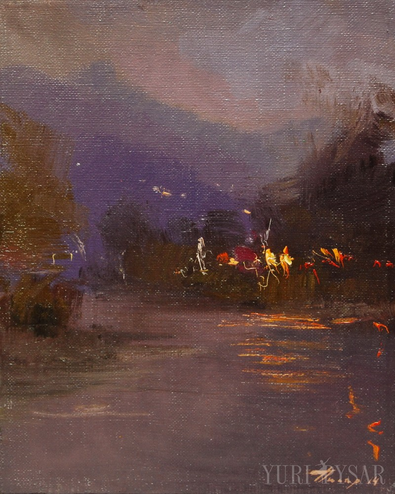 evening river painting on canvas with the lights reflection on it