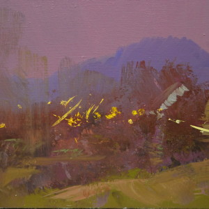 oil landscape painting of a beautiful carpathian evening in mountains