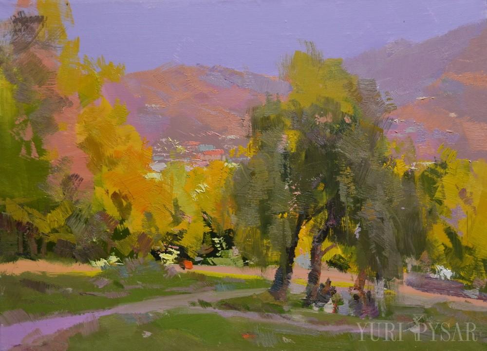 impressionist nature painting in autumn in Rakhiv, Burkut