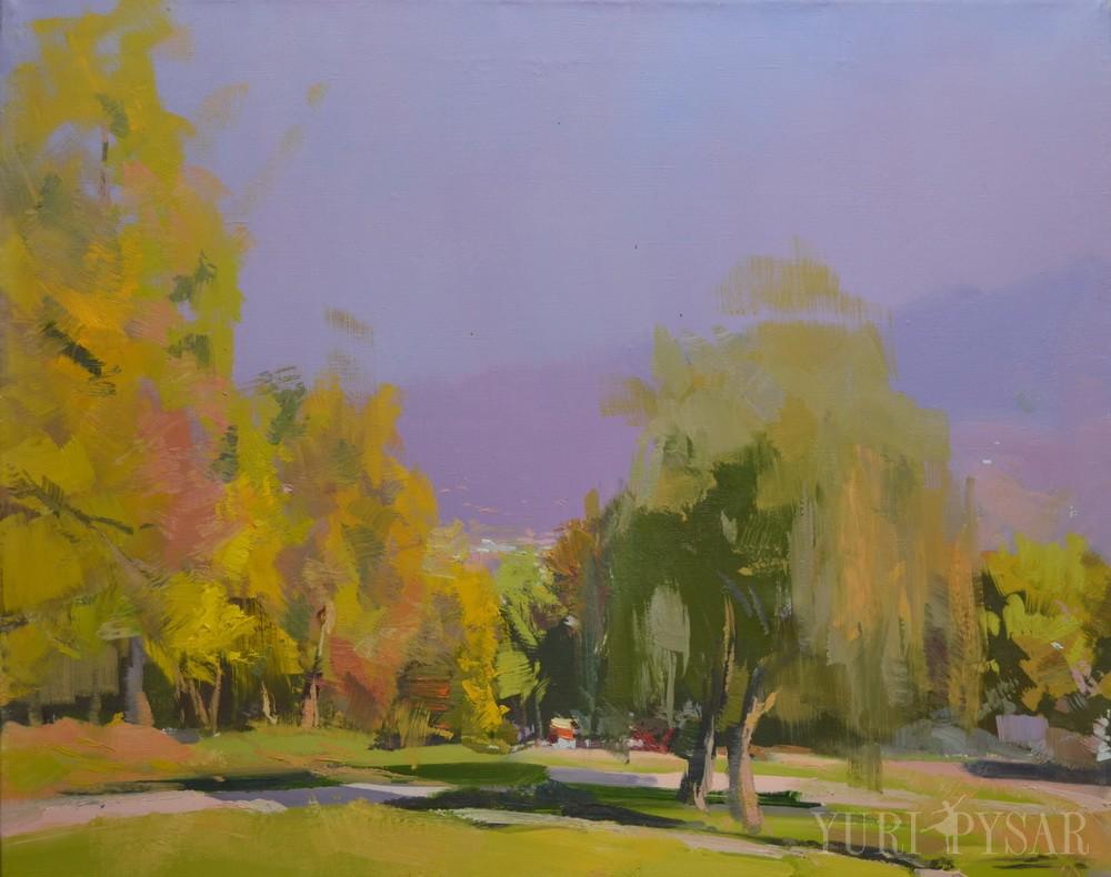 oil landscape painting of trees in rakhiv, burkut