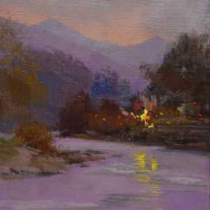 oil landscape painting of river with the lights on the surface