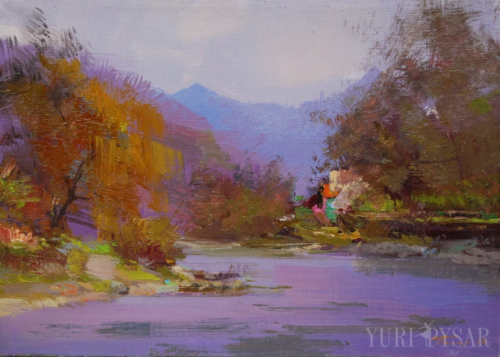 small landscape painting of a river in mountains