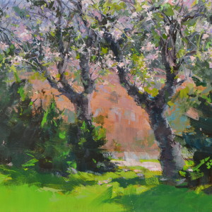 картина маслом весняний сад