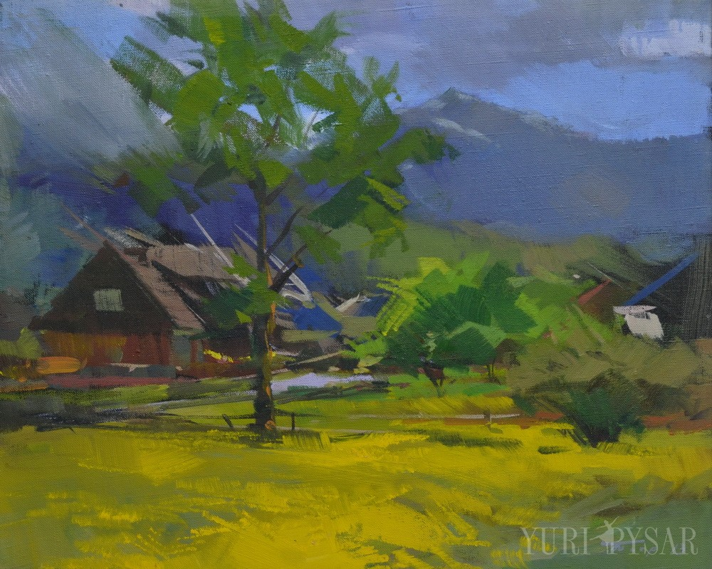 oil landscape painting of a hut in mountains.