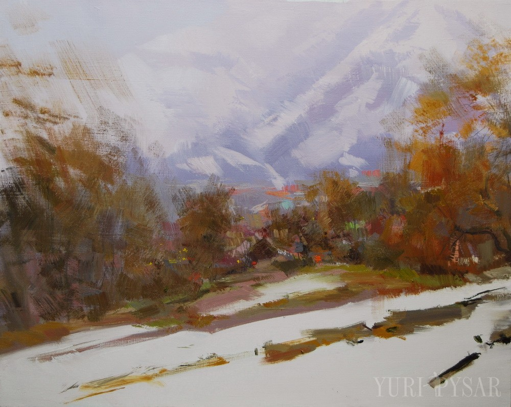 mountains in snow painting on canvas is oil landscape art