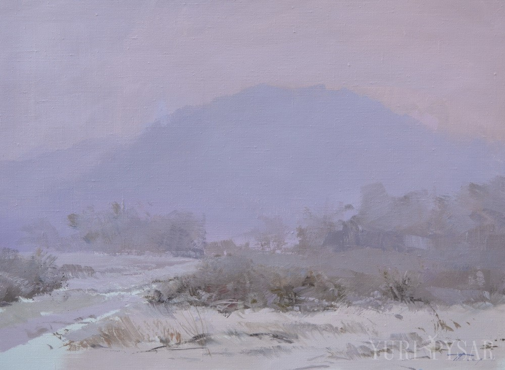 oil painting of a beautiful winter scene