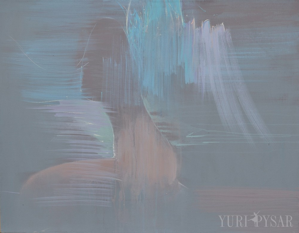 abstract oil painting of a woman with wings in a sitting pose