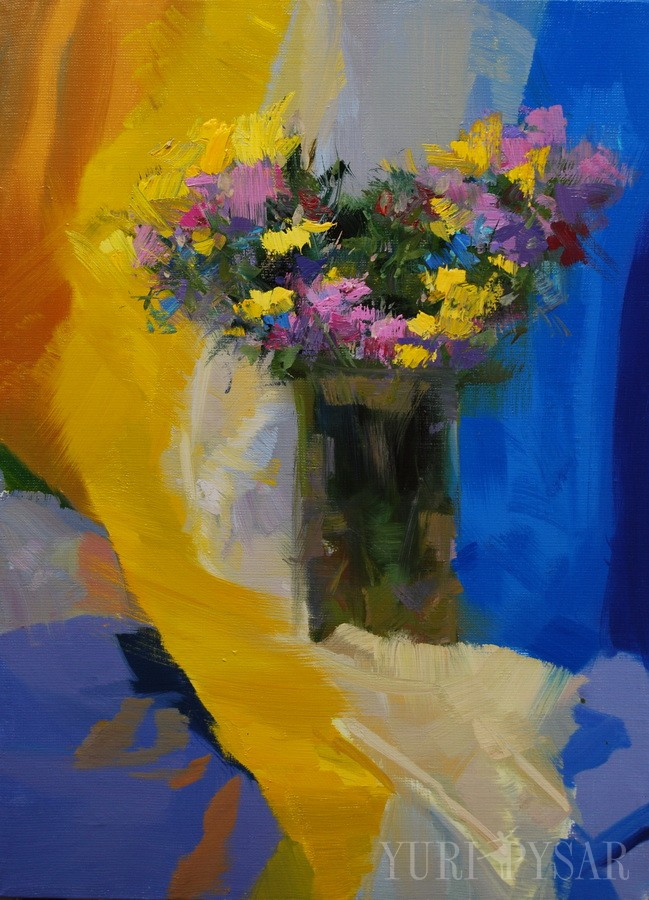 Chrysanthemes on Yellow| Хризантеми на жовтому