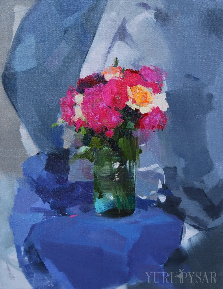 bouquet of flowers artwork on canvas