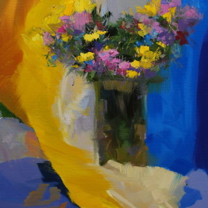 summer flowers painting in yellow, lilac and blue