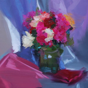 impressionist floral art on canvas created with oil