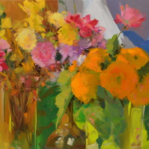 modern flowers painting in oil