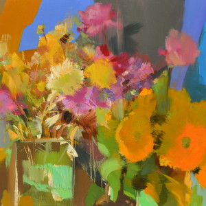 orange floral art created with oil on canvas