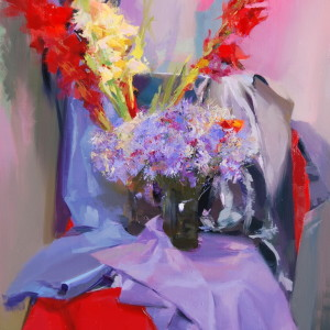 contemporary flowers artwork in oil on canvas