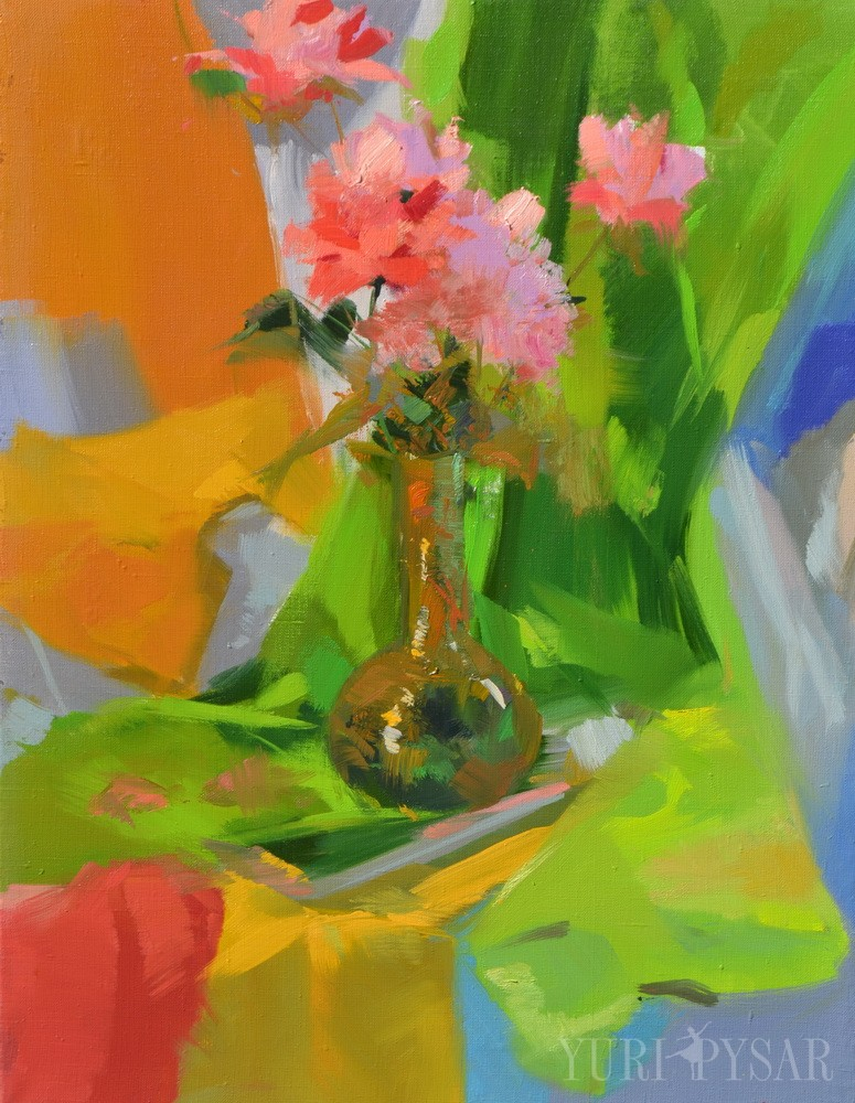 oil painting of colorful flowers in a thin vase