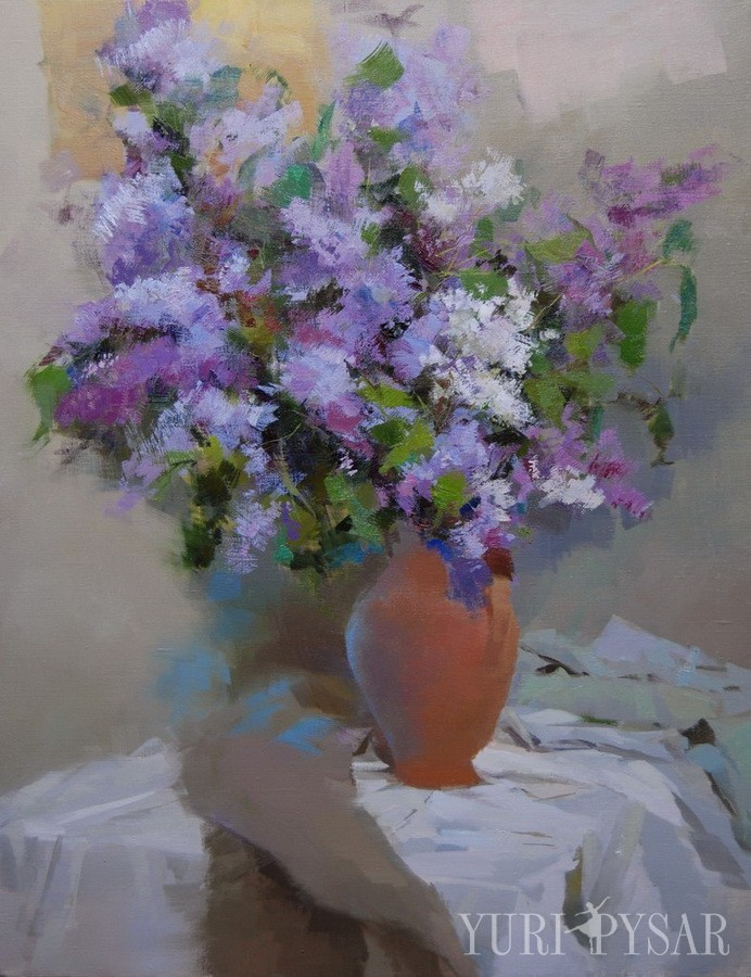 lilac floral art of beautiful spring flowers