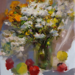 floral painting of beautiful autumn flowers, bouquet oil painting