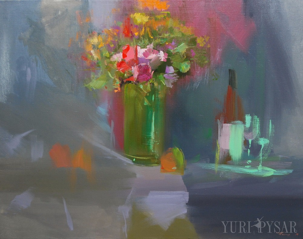 contemporary floral painitng with bottle of whine
