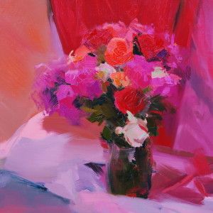impressionist painting of pink roses